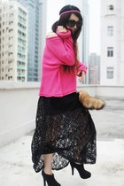 black Forever 21 dress - hot pink Monki sweater