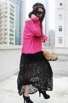 black Forever 21 dress - hot pink Monki sweater