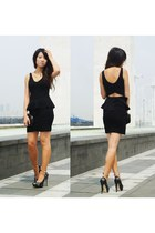 black asos dress - gold ankle cuff accessories - black Aldo heels