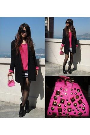 hot pink versace x h&m bag - black H&M coat - hot pink Monki sweater