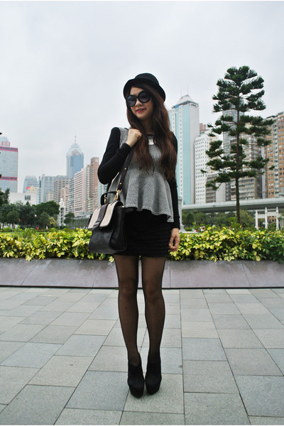 black peplum dabagirl top