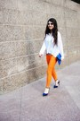 Blue-charlotte-russe-heels-white-sheer-monki-shirt-carrot-orange-pants