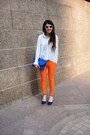 White-sheer-monki-shirt-blue-charlotte-russe-heels-carrot-orange-pants