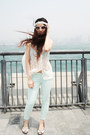 Aquamarine-zara-pants-white-lace-zara-top