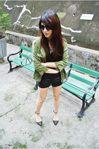 black high waisted H&M shorts - chartreuse H&M Conscious jacket