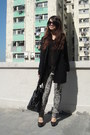 Black-h-m-coat-black-sheer-monki-shirt-heather-gray-zara-pants