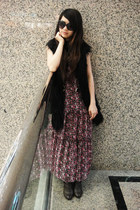 brown vintage boots - bubble gum maxi vintage dress