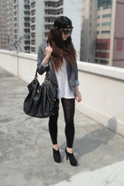 gray vintage blazer - black moussy boots - black headband Forever 21 accessories