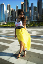 yellow hi-low imiko dress - black Mango sandals