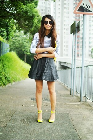yellow clutch American Apparel bag - ivory striped Topshop top