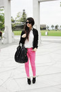 Black-vintage-jacket-bubble-gum-zara-pants