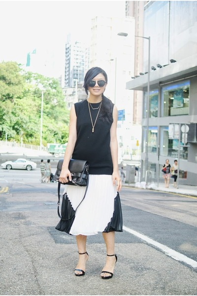 black PROENZA SCHOULER bag - black asos men top - white pleated skirt asos skirt