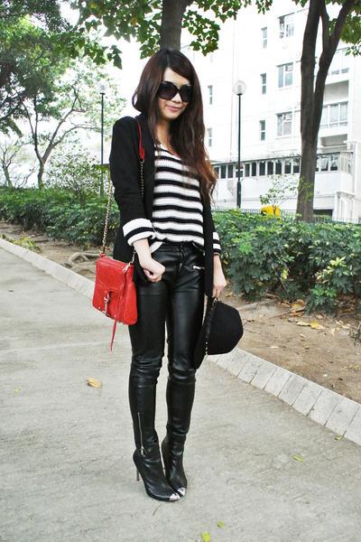 black H&M sweater - black River Island blazer - black leather Zara pants