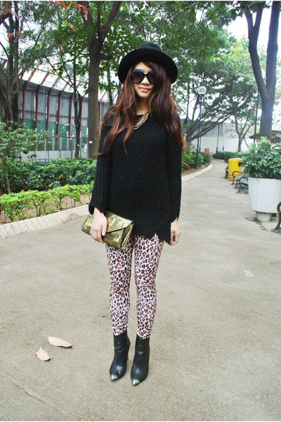 H&M sweater - Zara boots - Betsey Johnson bag - H&M necklace - leopard H&M pants