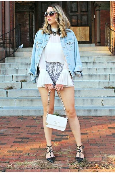 white chiffon H&M blouse - sky blue denim American Apparel jacket