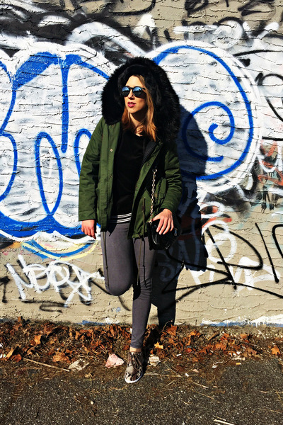 olive green cotton Zara jacket - charcoal gray denim American Apparel jeans