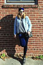 blue velvet American Apparel leggings - black leather sam edelman boots