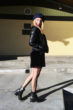 leather sam edelman boots - velvet Zara dress - wool Zara hat