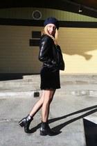 leather sam edelman boots - velvet Zara dress - wool Zara hat