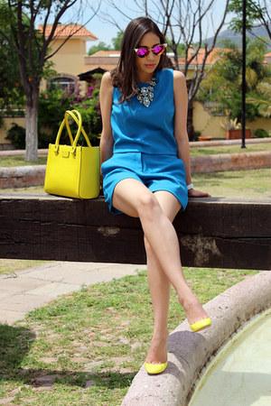 blue Theory shorts - yellow kate spade bag - amethyst Fendi sunglasses