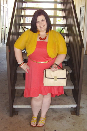 coral dress - mustard sweater