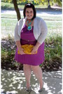 Purple-lys-dress-white-sweater-yellow-bisou-bisou-bag