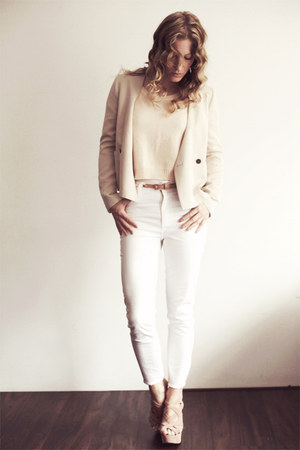 neutral silk Zara blazer - white high waisted H&M jeans - nude knitted H&M top