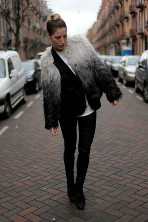 faux fur H&M jacket - waxed Zara jeans - kimono H&M blazer - H&M vest