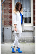 aquamarine sugarfree shoes heels - white Zara coat - ivory Zara jeans
