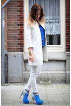 aquamarine sugarfree shoes heels - white Zara coat - ivory Zara jeans
