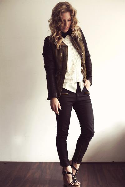 dark green Zara coat - black waxed Zara jeans - nude Zara jumper