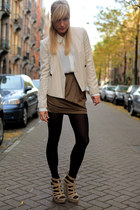 beige Zara blazer - white silk Zara blouse - Mango skirt