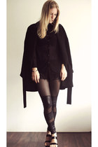 black H&M blouse - black Zara jacket - black romwe leggings