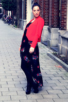 black new look dress - red Zara blazer