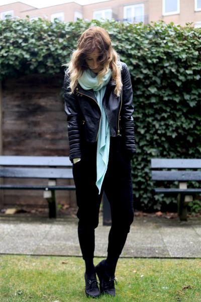black Zara jacket - aquamarine Zara scarf - aquamarine romwe top