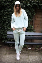 aquamarine Zara jeans - aquamarine H&M Trend sweater - off white Zara blouse