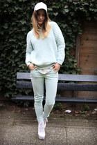 aquamarine Zara jeans - aquamarine H&M Trend sweater - off white Zara blouse