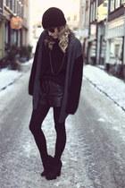 black leather Zara shorts - black transparent H&M blouse