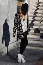 black fair isle dept cardigan - black leather H&M shorts - ivory Nelly heels