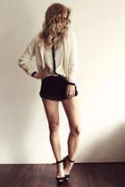beige Zara cardigan - black H&M shorts - beige Zara blouse - black Zara heels