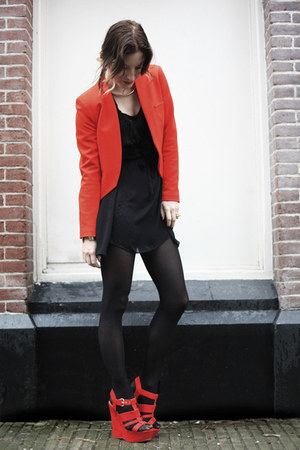 red River Island wedges - black Zara dress - red Zara blazer - gold H&M necklace