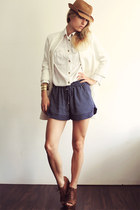 navy Zara shorts - white Zara coat - ivory H&M blouse - dark brown Zara wedges