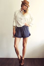 White-zara-coat-navy-zara-shorts-ivory-h-m-blouse-dark-brown-zara-wedges