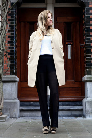 beige H&amp;M coat - white H&amp;M top - black Zara pants - beige Zara wedges