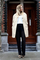 beige H&M coat - white H&M top - black Zara pants - beige Zara wedges