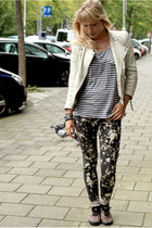 white leather Zara jacket - bleach spotted self-made leggings