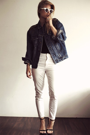navy vintage Levis jacket - white H&amp;M jeans - black tank just female top