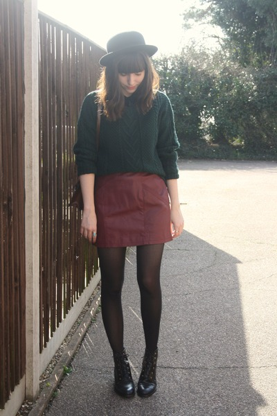 forest green sweater - crimson leather skirt