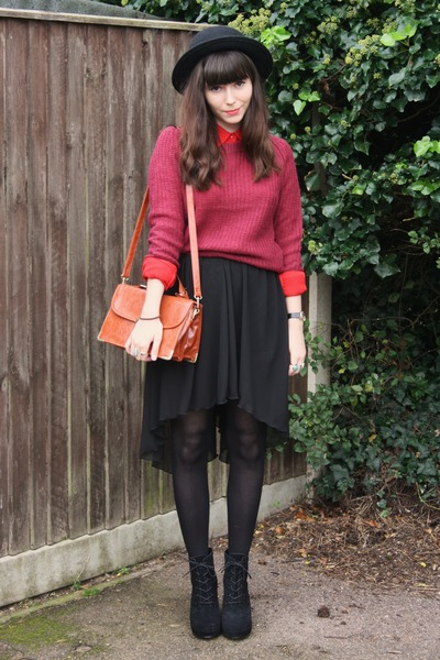 2b325cc620 Black Skirts, Crimson Sweaters, Red Shirts, Black Wedges |