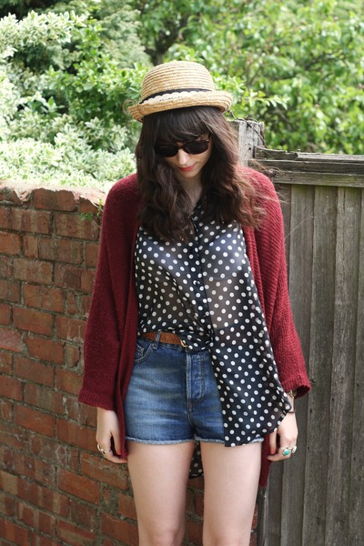 denim shorts - polka dot blouse - crimson cardigan